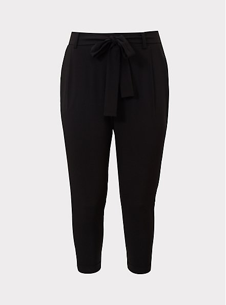 Black Crepe Self Tie Tapered Pant, DEEP BLACK, hi-res