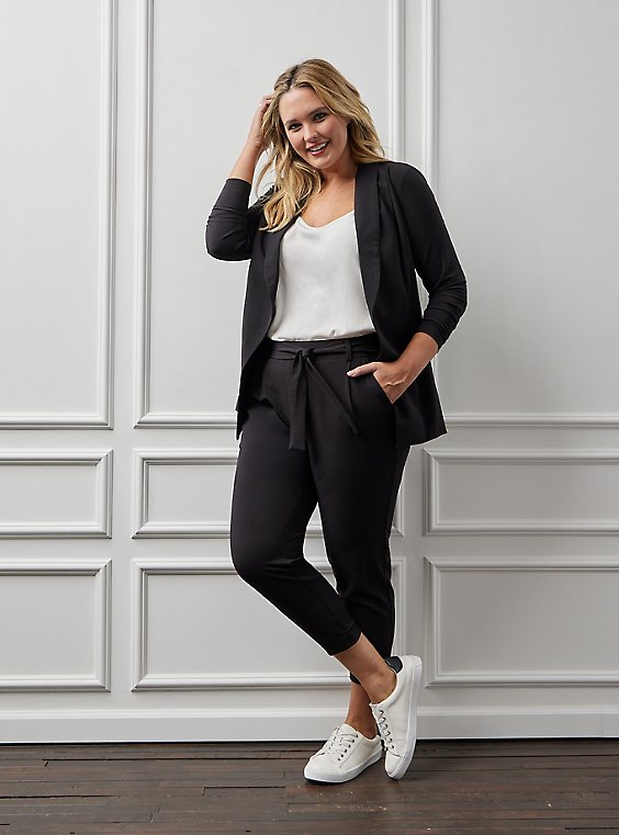 Plus Size Black Crepe Self Tie Tapered Pant, , hi-res