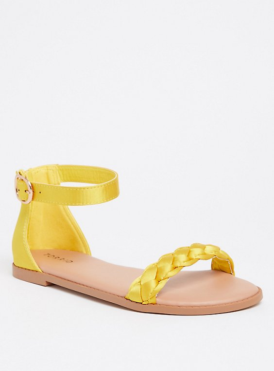 Yellow Satin Braided Sandal (WW), , hi-res