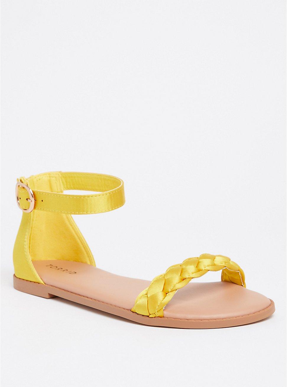 Yellow Satin Braided Sandal (WW), YELLOW, hi-res