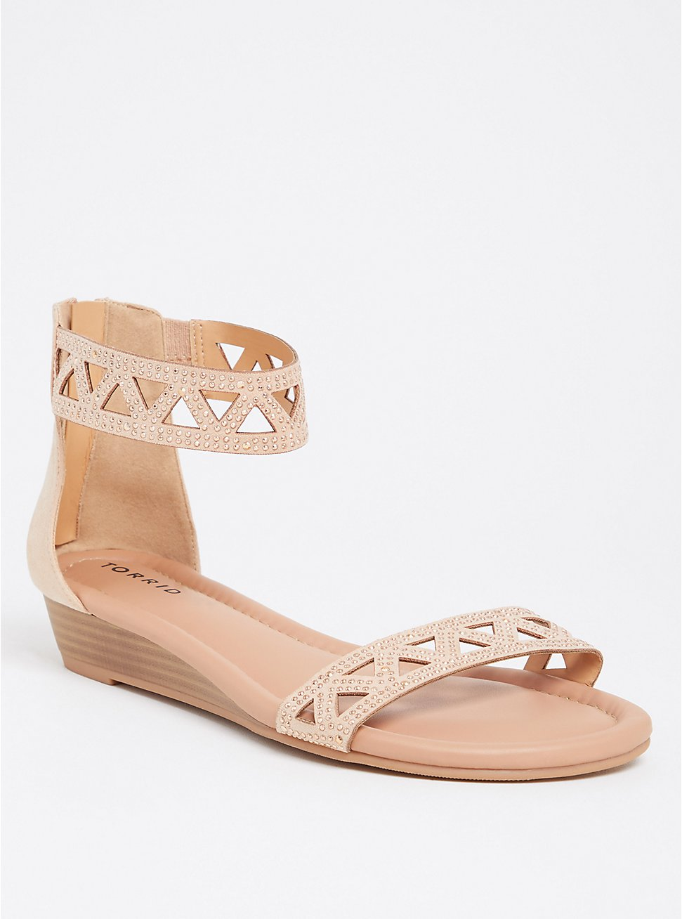 Blush Pink Rhinestone Wedge Sandal (WW), BLUSH, hi-res