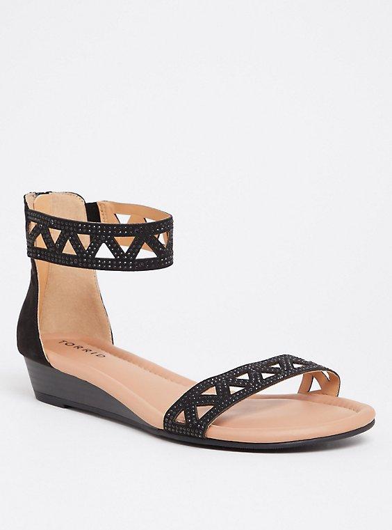 Black Rhinestone Wedge Sandal (WW), , hi-res