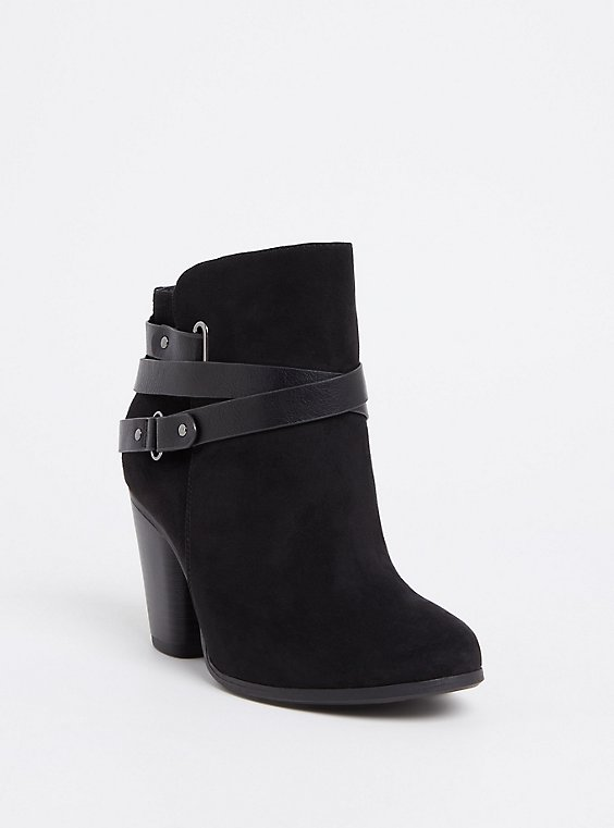 Black Faux Suede Strappy Bootie (WW), , hi-res