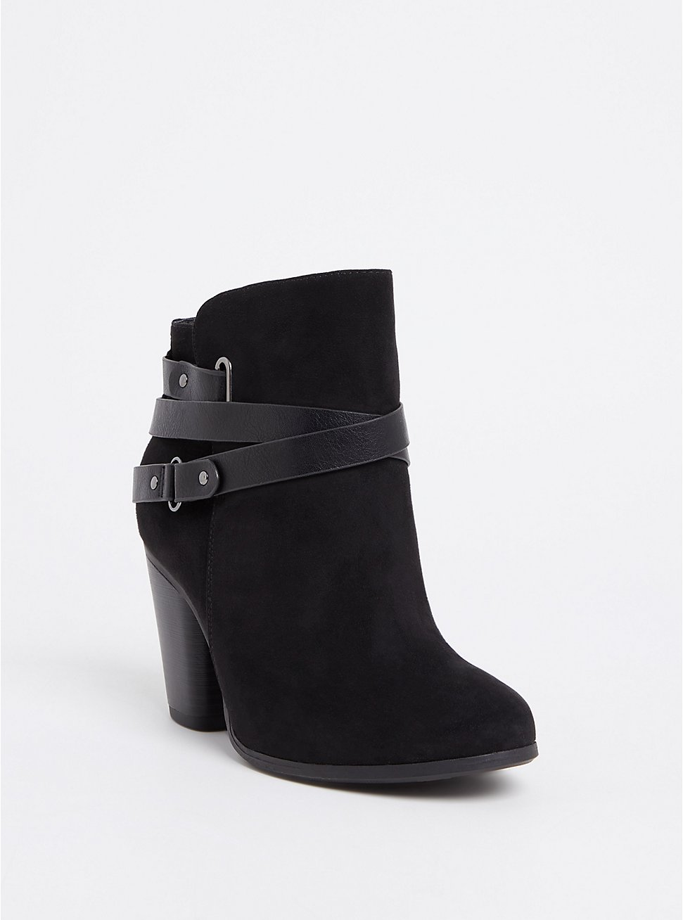 Black Faux Suede Strappy Bootie (WW), BLACK, hi-res