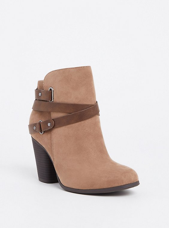 Taupe Faux Suede Strappy Bootie (WW), , hi-res