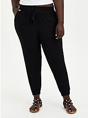 Black Gauze High Waist Jogger, DEEP BLACK, hi-res