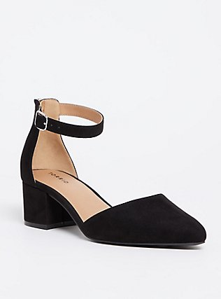Black Faux Suede D'Orsay Pointed Block Heel (WW), BLACK, hi-res