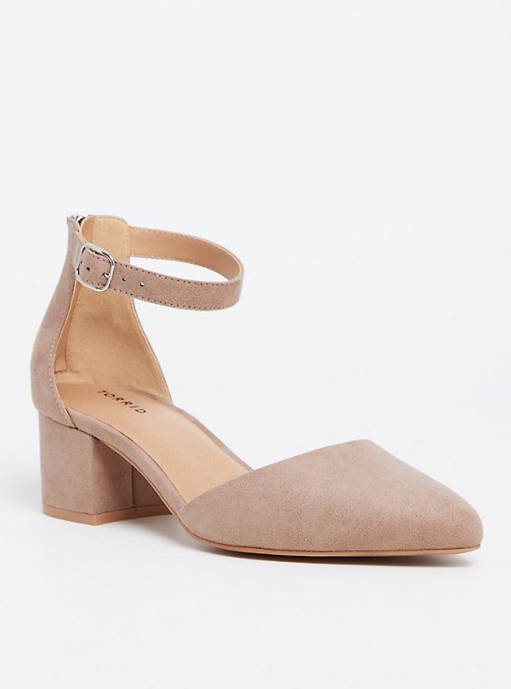 Taupe Faux Suede D'Orsay Pointed Block Heel (WW), , hi-res
