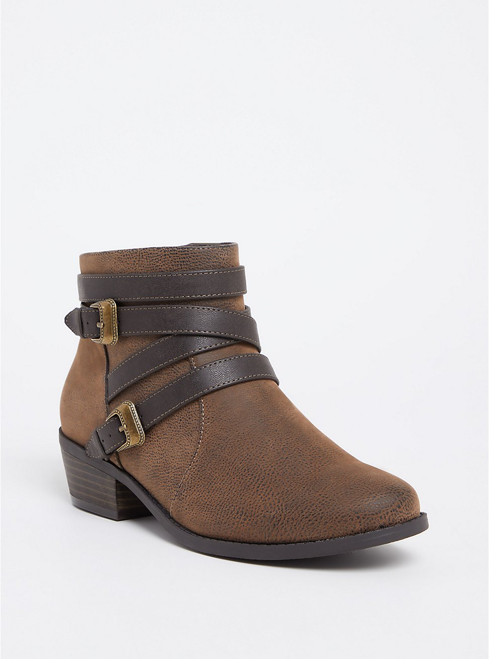 Brown Pebble Faux Leather Western Buckle Bootie (WW), BROWN, hi-res