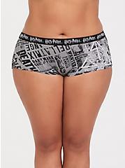 Plus Size Harry Potter Newspaper Black Cotton Boyshort Panty, MULTI, hi-res