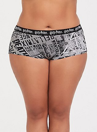 Harry Potter Newspaper Black Cotton Boyshort Panty, MULTI, hi-res