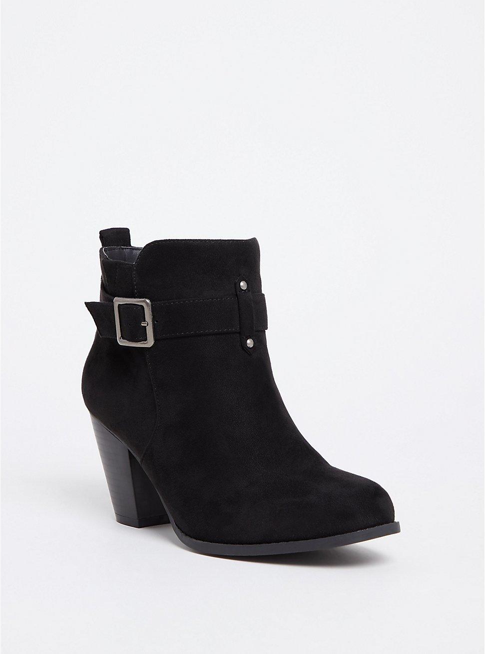 Plus Size Black Faux Suede Buckle Bootie (WW), BLACK, hi-res