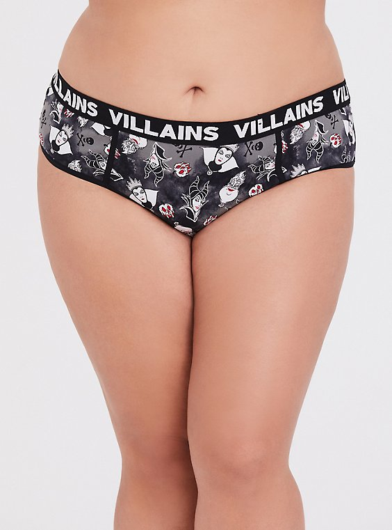 Disney Villains Black Cotton Hipster Panty, , hi-res