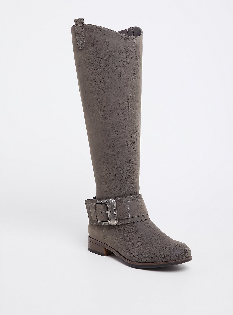Grey Brushed Faux Leather Western Knee-High Boots (WW), GREY, hi-res