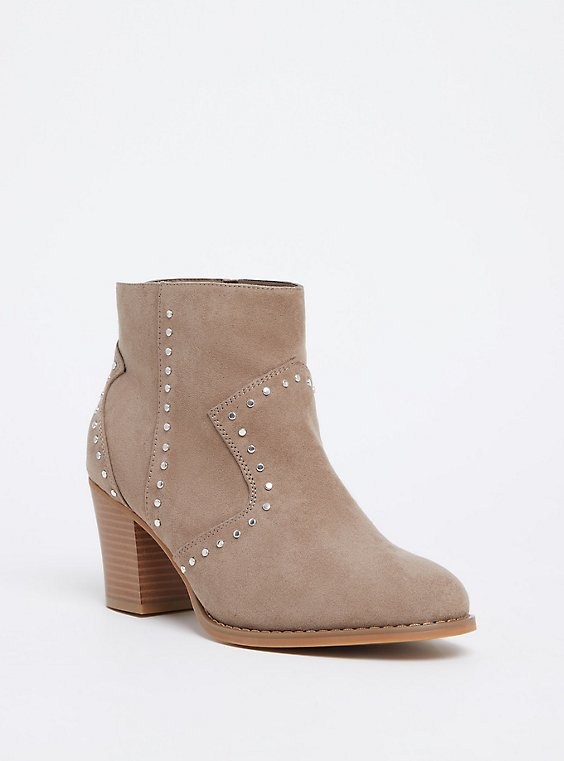 Taupe Faux Suede Studded Bootie (WW), , hi-res