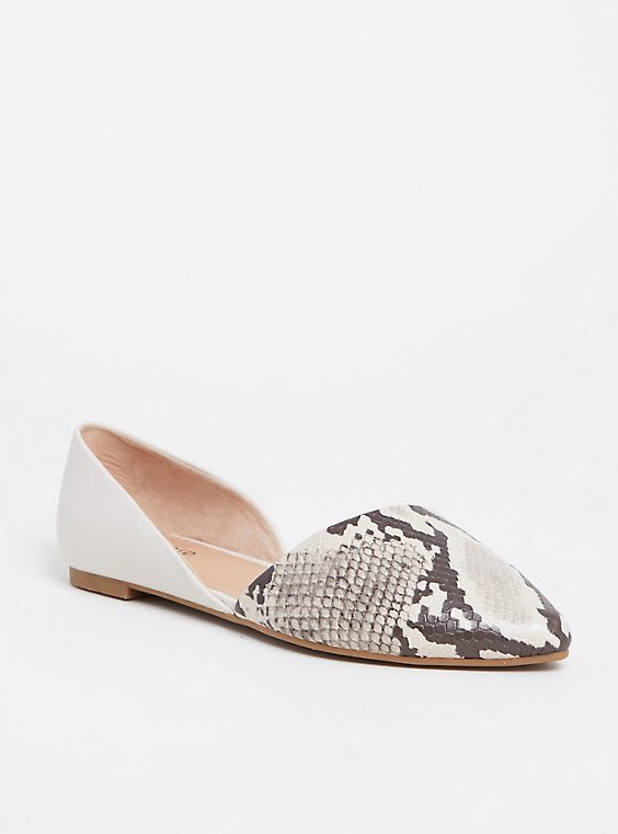 Cream & Grey Snakeskin Print Faux Leather D'Orsay Flat (Wide Width), , hi-res