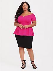 Hot Pink Scuba Knit Peplum Top, NEON PINK, alternate