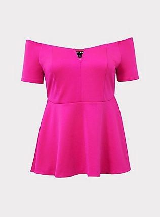 Hot Pink Scuba Knit Peplum Top, NEON PINK, flat