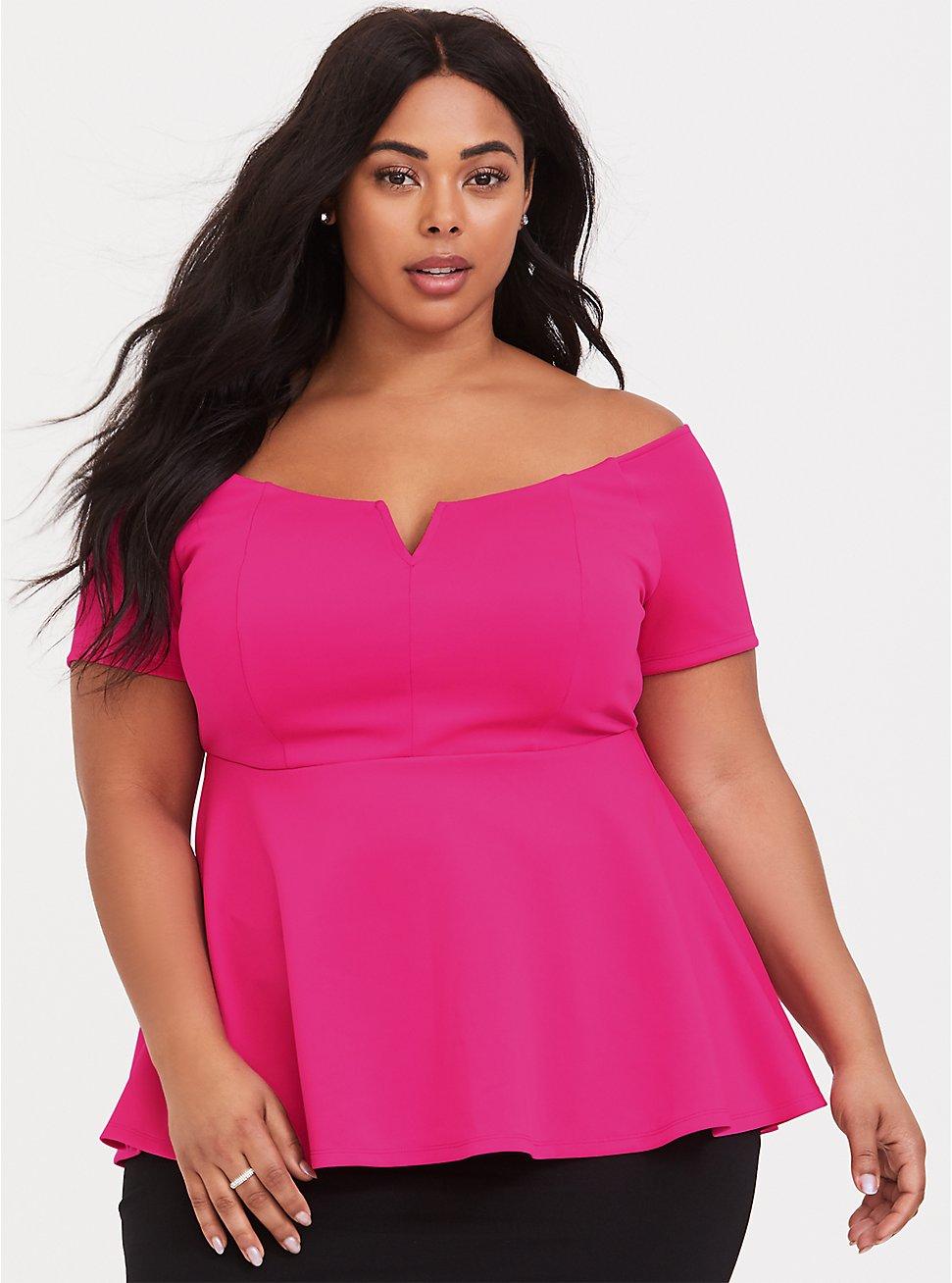 Hot Pink Scuba Knit Peplum Top, NEON PINK, hi-res
