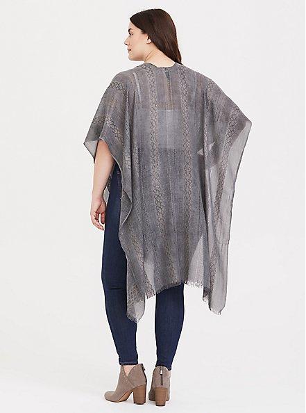 Grey Textured Knit Ruana, , alternate