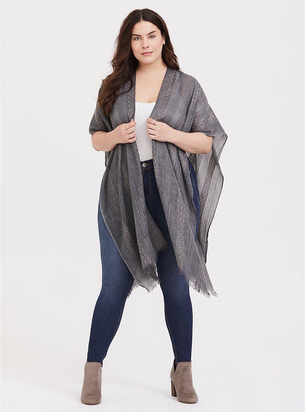 Grey Textured Knit Ruana, , hi-res