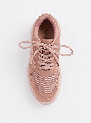 Plus Size Dusty Pink Faux Suede Sneaker (WW), BLUSH, alternate