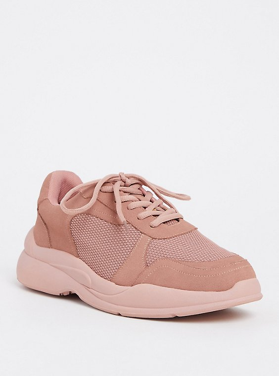 Plus Size Dusty Pink Faux Suede Sneaker (WW), , hi-res