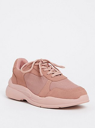 Dusty Pink Faux Suede Sneaker (WW), BLUSH, hi-res