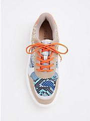 Plus Size Orange & Blue Snakeskin Print Faux Leather Sneakers (WW), BLACK, alternate