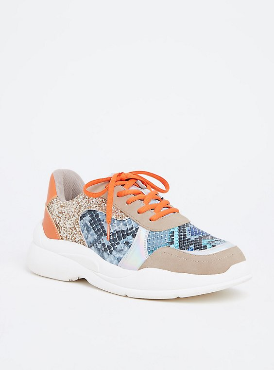 Orange & Blue Snakeskin Print Faux Leather Sneakers (WW), , hi-res