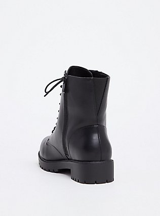 Black Faux Leather Combat Boot (WW), BLACK, alternate