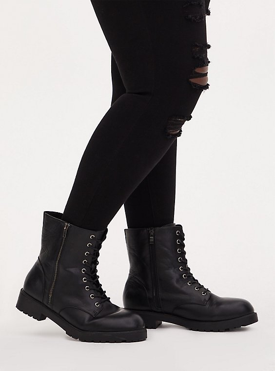 Black Faux Leather Combat Boot (WW), , hi-res