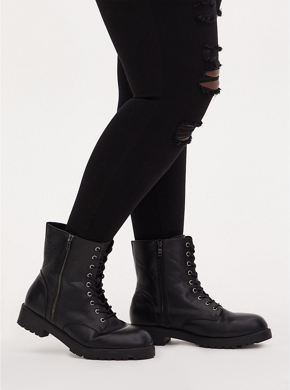 Black Faux Leather Combat Boot (Wide Width), BLACK, hi-res