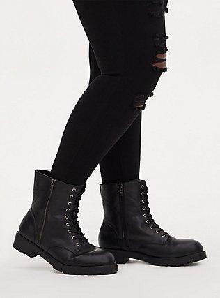Black Faux Leather Combat Boot (Wide Width), BLACK, hi-res
