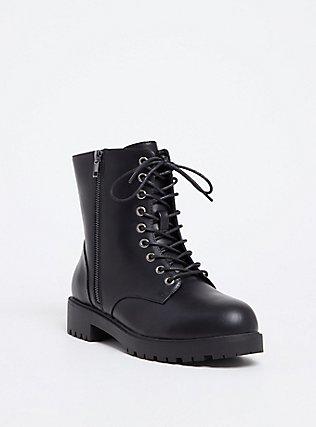Black Faux Leather Combat Boot (WW), BLACK, ls