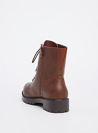 Chestnut Brown Faux Leather Combat Boot (WW), BROWN, alternate