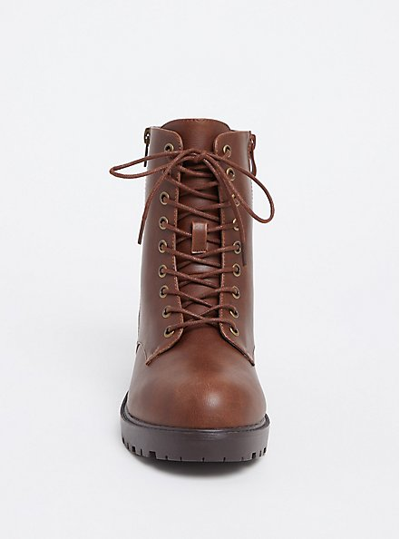 Plus Size Chestnut Brown Faux Leather Combat Boot (WW), BROWN, alternate