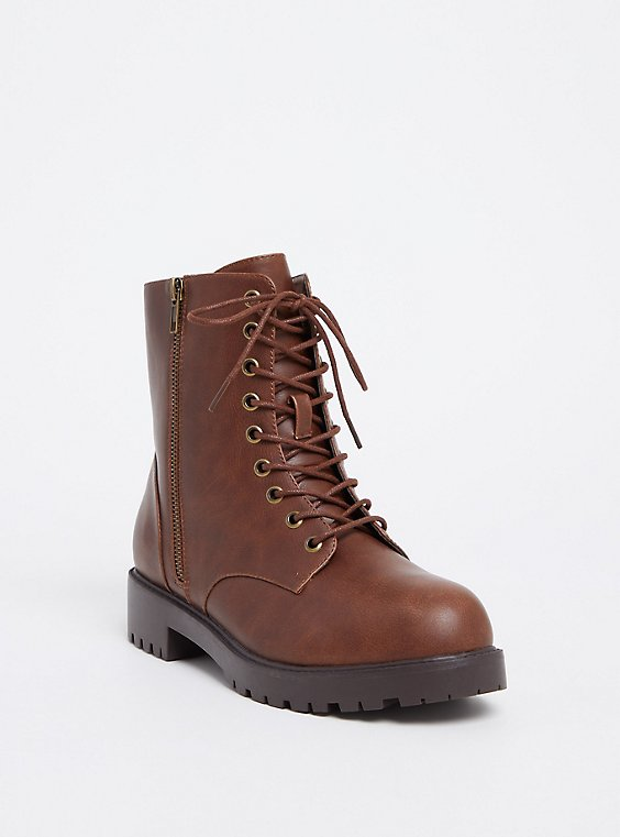 Plus Size Chestnut Brown Faux Leather Combat Boot (WW), BROWN, hi-res