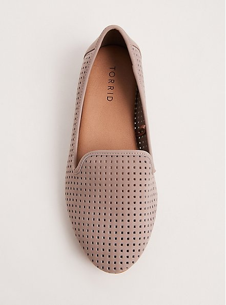Plus Size Taupe Perforated Loafer (WW), TAN/BEIGE, alternate