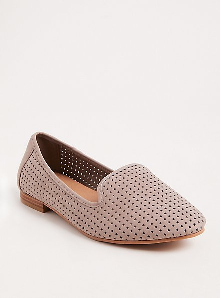Plus Size Taupe Perforated Loafer (WW), TAN/BEIGE, hi-res