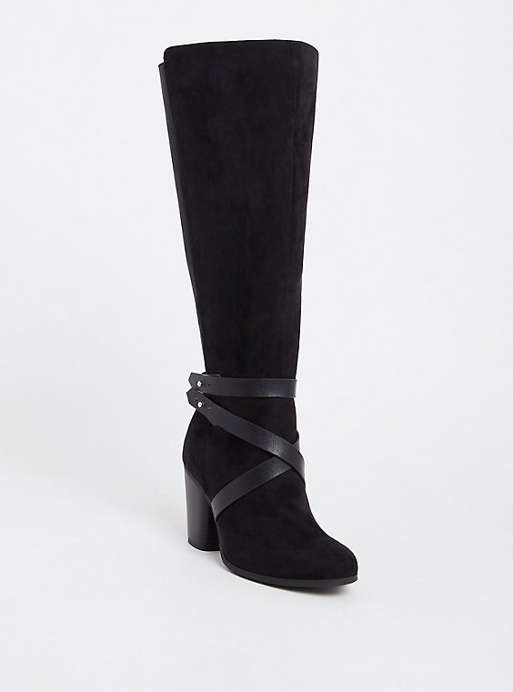 Plus Size Black Faux Suede Knee High Strappy Boot (WW & Wide To Extra Wide Calf), , hi-res