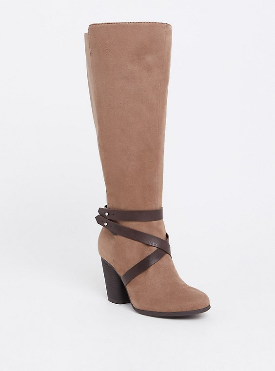 Plus Size Taupe Faux Suede Knee High Strappy Boot (WW), , hi-res