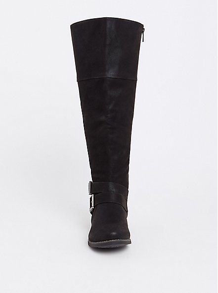 Black Faux Suede Over-the-Knee Boots (WW), BLACK, alternate