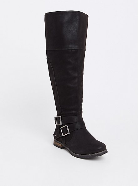 Black Faux Suede Over-the-Knee Boots (WW), BLACK, hi-res