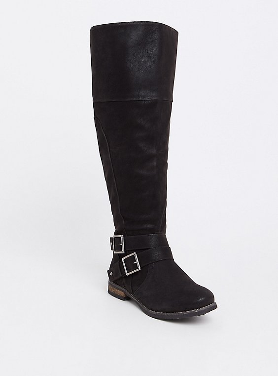Black Faux Suede Over-the-Knee Boots (WW), , hi-res