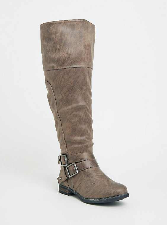 Taupe Faux Suede Over-the-Knee Boots (Wide Width), , hi-res