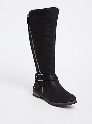 Black Brushed Faux Leather Tall Boot (WW & Wide to Extra Wide Calf), BLACK, hi-res