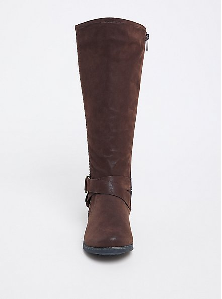 Chocolate Brown Brushed Faux Leather Tall Boot (WW & Wide to Extra Wide Calf), BROWN, alternate