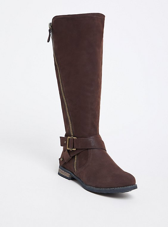 Plus Size Chocolate Brown Brushed Faux Leather Tall Boot (WW & Wide to Extra Wide Calf), , hi-res