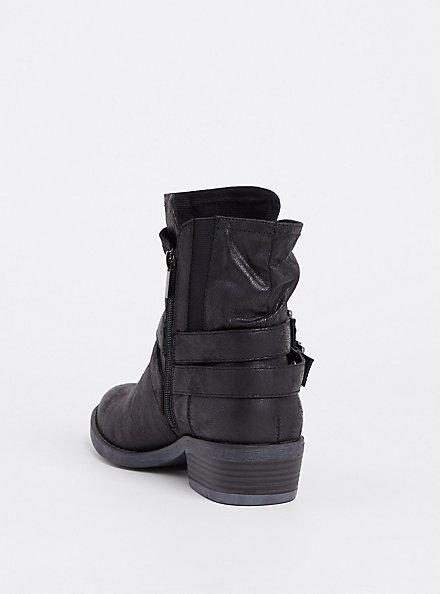 Black Brushed Faux Leather Moto Bootie (WW), BLACK, alternate